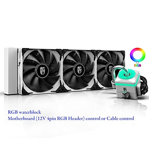 DEEPCOOL Captain 360X WH RGB AIO CPU Liquid Cooler, Anti-Leak Tech Inside, Stainless Steel U-Shape Pipe, Cable Controller and Motherboard with 12V 4-pin RGB Header Control, 3-Year Warranty