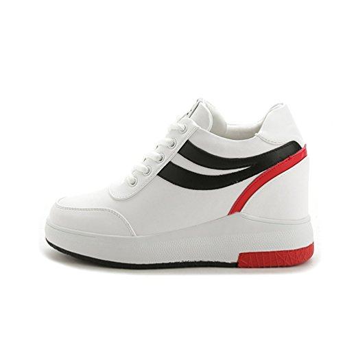 ohne Markenname Sportliche Damen Plateau Sneaker-Wedges Low-Top Sneakers Keilabsatz Weiß