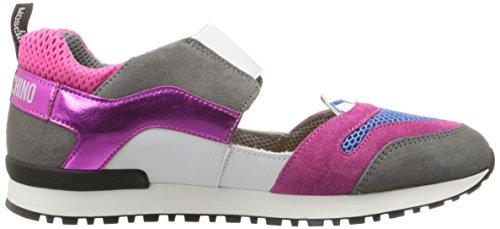 Love Moschino Women's Cut-Out Logo Running Shoe Fashion Sneaker, Fuchsia/Grey/Blue, 37 EU/7 M US by Love Moschino (Image #7)