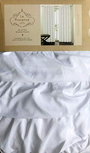 Le Provence Ruffled Pair of Window Curtains Solid White Parisian Gypsy Flamenco Ruffles Draperies Panels Rod Pockets Set of 2-38