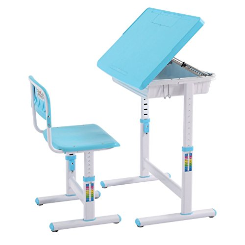 Chende Children Adjustable Study Desk & Chair Kids Interactive Work Station School Desk (Blue) by Chende
