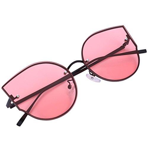 rojo de de de negro Gafas de sol sol SODIAL grande mujer S17014 gato lujo de UV400 Gafas moda de ojo marco de gafas F6AwB