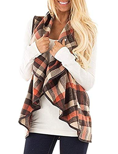Unidear Womens Casual Slim Fall Sleeveless Plaid Down Vest Outdoor Vest Jacket with Pockets Brown 2XL ()