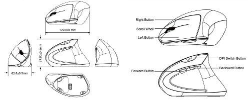 perixx perimice-713  wireless ergonomic vertical mouse - nano