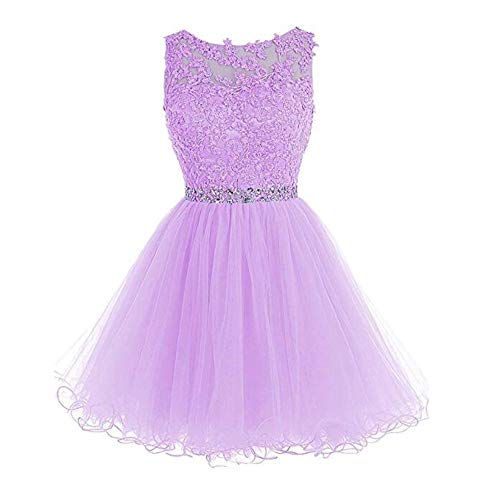 HHBY Women Short Beaded Homecoming Dresses Tulle Lace Applique Prom Party Gowns Lilac (Gown Short Beaded)