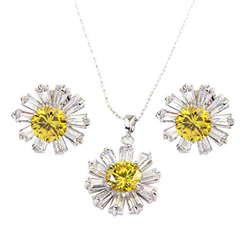 FC White Gold GP Yellow Crystal CZ Daisy Pendant Necklace Earrings Jewelry Sets ()