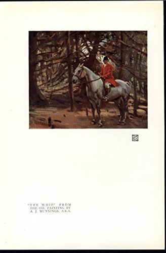 - Riding Horse in the Woods Whip Dense Woods 1919 vintage color art print