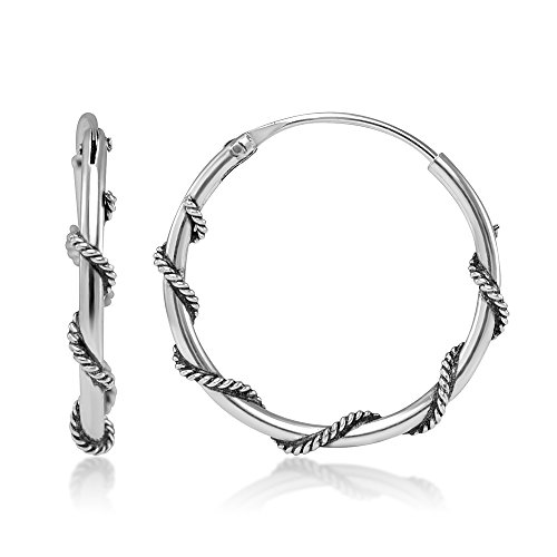 925 Stelring Silver 20mm 3/4 Inch Wrapped Rope Wire Design Endless Hoop - Rope Hoop Wrapped Earrings