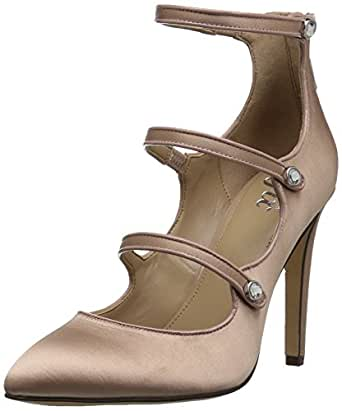 The Fix Amazon Brand Women's Maya Pointed-Toe Military-Inspired Strap Pump with Decorative Jewels, Petal Blush, 7 B US
