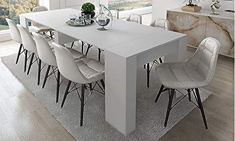 Home Innovation - Tavolo Consolle per sala da pranzo e soggiorno,  rettangolare, allungabile fino a 237 cm, colore bianco lucido, fino a 10  persone, ...