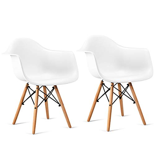 (Giantex Set of 2 Modern Dining Chairs w/Natural Wood Legs, Easily Assemble Mid Century Molded Plastic Shell Arm Chair for Living Room, Bedroom, Kitchen, Dining Room, Office, Waiting Room,)