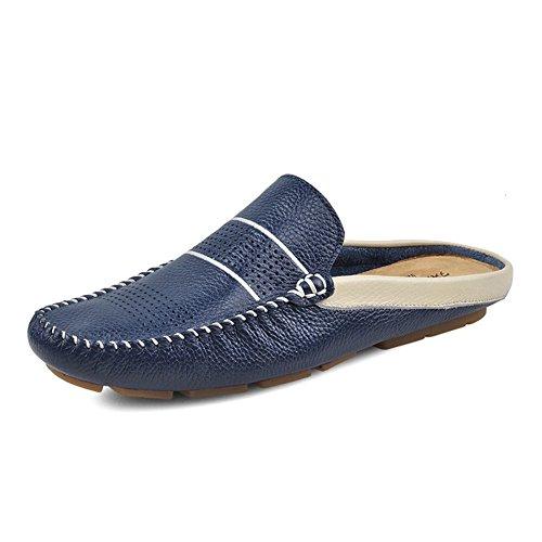 Santimon Heren Comfortabele Soft Scuff Lederen Slippers Instappers Loafters Schoenen Blauw
