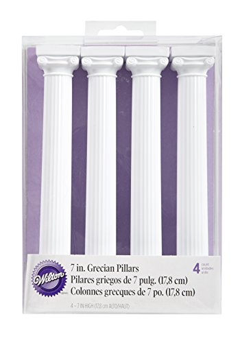 (Wilton 303-3705 4-Pack Grecian Pillars for Cakes, 17,8 cm)