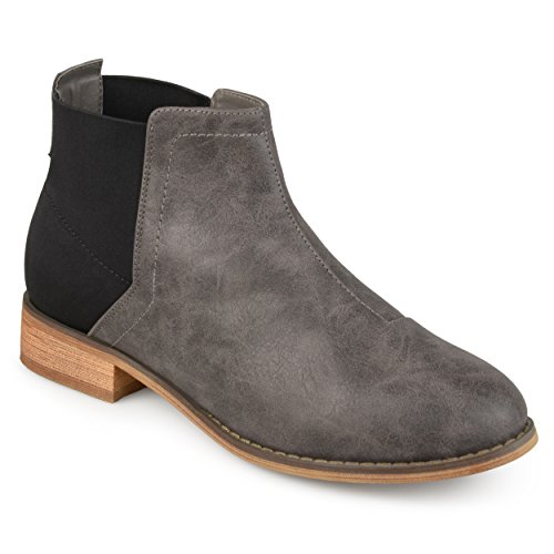 Journee Collection Womens Two-tone Gore Back Booties Grijs