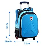 Large Capacity Trolley Bag Boy Girl Primary School (6-12 Years Old) Waterproof EVA Backpack Detachable Three-Wheeled Trolley Backpack Decompression Ridge Can Climb Stairs (Suitable For Grades 3-6),B
