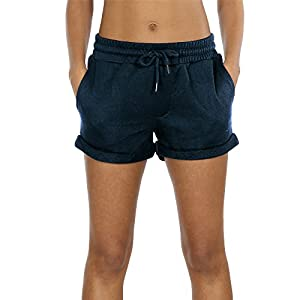 icyzone Workout Lounge Shorts for Women – Athletic Running Jogging Cotton Sweat Shorts