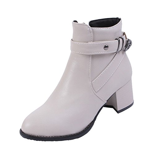 Mee Shoes Womens Fashion High-heel Ankle-high Boots Off-White cQzj6TPn5F