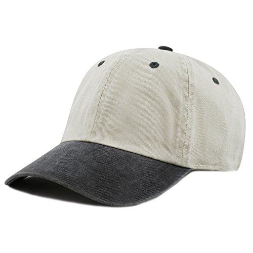 The Hat Depot Cotton Pigment Dyed Low Profile Six Panel Cap (Beige Black) ()
