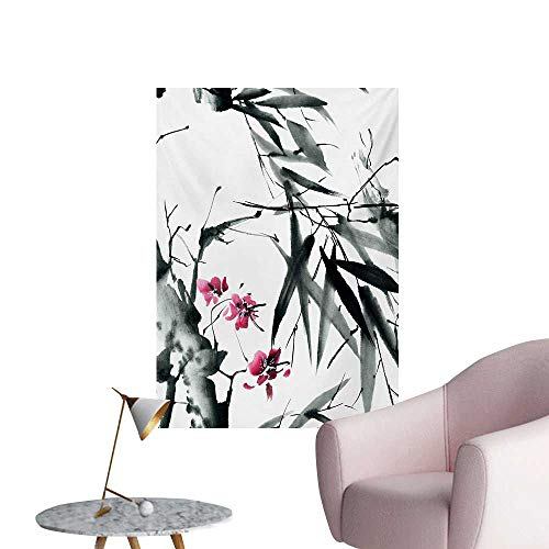 ParadiseDecor Japanese Photographic Wallpaper Natural Sacred Bamboo Stems Cherry Blossom Japanese Inspired Folk PrintDark Green Fuchsia W24 xL36 Cool Poster ()