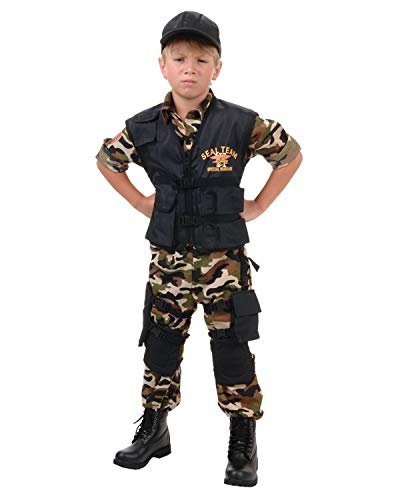 Underwraps Big Boy's Kids Seal Team Deluxe Costume - Medium Childrens Costume, camo/Black, Medium]()
