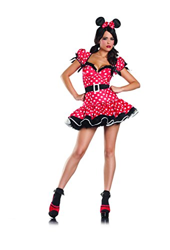 Mighty Mouse Costume For Adults (Adult Women's 3 Piece Sexy Pin Up Mouse Halloween Party Costume)