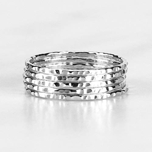 Delicate Stacking Rings - Hammered Argentium Silver- Sold per Ring - Custom Made To Your Size