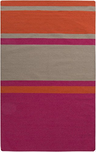 Surya FT566-23 Hand Woven Casual Accent Rug, 2 by 3-Feet, Hot Pink/Coral/Light Gray (566 Three Foot)