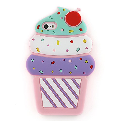 iPhone 5S Case, iPhone 5 Case, iPhone SE Case, 3D Cute Cartoon Cherry Cupcakes Ice Cream Shaped Soft Silicone Case Bumper Back Cover for iPhone 5S / 5 / SE (Pink)