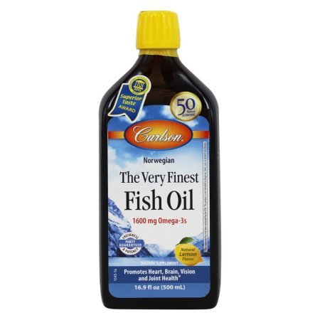 Carlson The Very Finest Fish Oil Liquid Omega-3 Lemon, 500ml (Pack of 2) by Carlson Laboratories