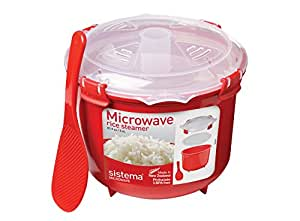 Sistema Microwave Cookware Rice Steamer, 87.2 Ounce/ 10.9 Cup, Red