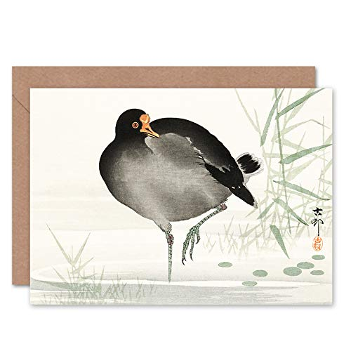 Wee Blue Coo Moorhen Bird Ohara Koson Greeting Card With Envelope Inside Premium Quality