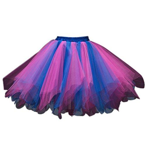 Feoya Ballet Jupe Femme Adulte Fille Tulle Lger Jupe Courte pour Fte Danse Spectacle Multi Couches Jupe Tutu Taille lastique Multicolore Rose+bleu