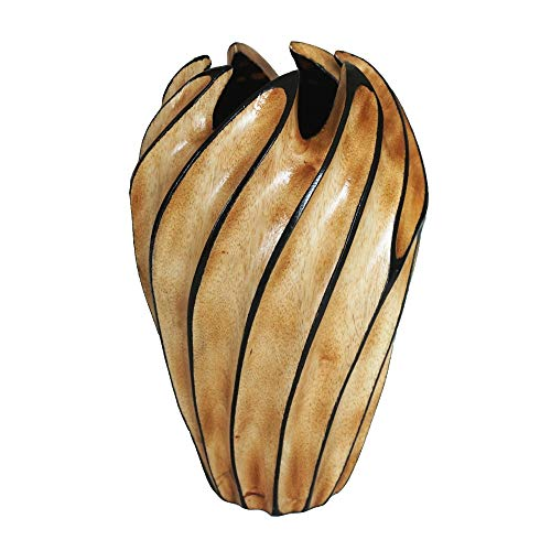 (Chilling Station Hand Carved Mango Wood Vase   Decorative Flower Pot Swirl Grooved Surface   Wedding, Dining Table Centerpiece - Home, Hotel, Spa, Counter Decoration)