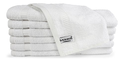 - SALBAKOS Luxury Hotel and Spa Washcloths Turkish Cotton 12 Piece, Eco-Friendly Set for Bath, 13 by 13 Inches, White