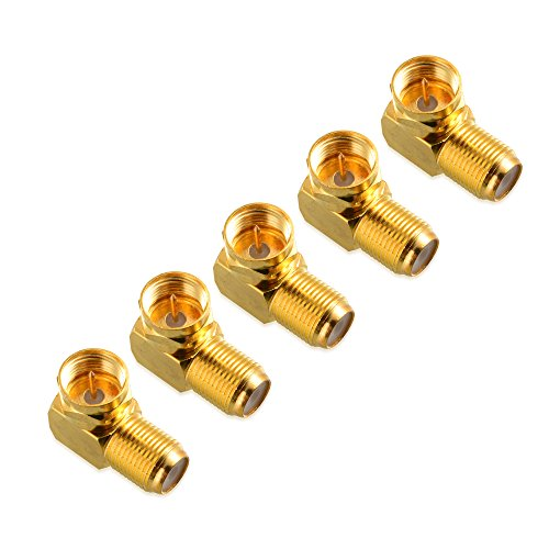 Cable Matters 5-Pack, Gold Plated Right Angle F-Type Coaxial RG6 Adapter