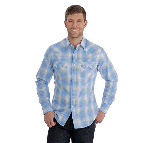 (Wrangler Men's Retro Plaid Long Sleeve Western Shirt Blue Medium)