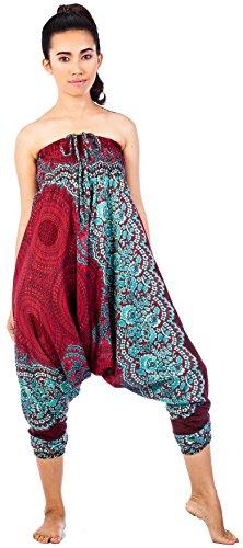 1 Burgundy Lofbaz Pantaloni Ovale Donna Jumpsuit Fiore Waist Rose Smocked Dye Tie Harem xPwfxRZq