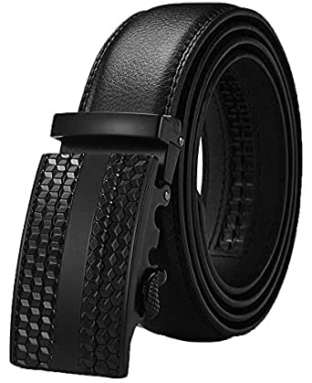 """Men's Belt,Wetoper Slide Ratchet Belt for Men with Genuine Leather 1 3/8,Trim to Fit (Up to 44"""" waist adjustable, Black 6)"""