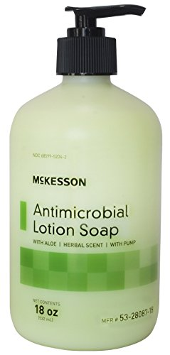 McKesson 53-28087-18 Antimicrobial Lotion Soap with Aloe and Herbal Scent, 18oz Bottle with Pump (Pack of 12)