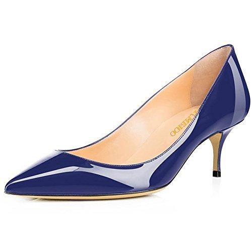 Kmeioo Pumps For Women, Women's Slip On Kitten Heels Pointed Toe Low Heels Office Pumps-Navy Blue 8M Navy Blue Leather Pumps