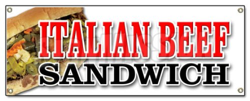 Italian Beef Sandwich Banner Sign Salami Meat Deli Italian Restaurant