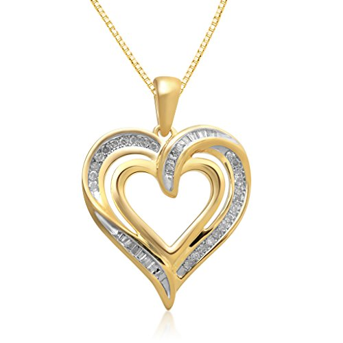 Jewelili 14K Yellow Gold over Sterling Silver Diamond Heart Pendant Necklace, 1/4cttw. 18''