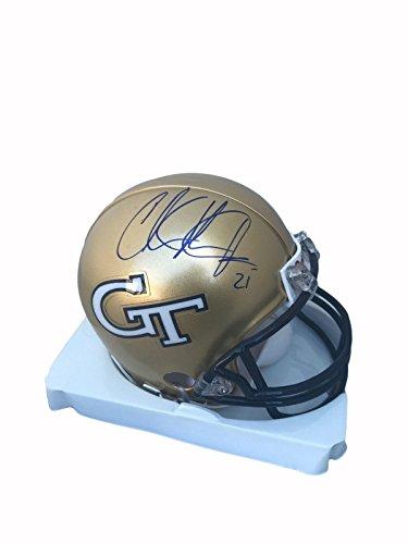 Johnson Autographed Mini Helmet (Calvin Johnson Georgia Tech Yellow Jackets Signed Mini Helmet - JSA Certified - Autographed College Mini Helmets)