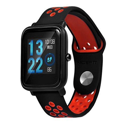 ompatible for Huami Watch, Soft Silicone Bracelet Replacement Wrist Strap Compatible for Huami Amazfit Bip Youth Men Women (red) ()