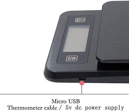 CJCJ-LOVE Bilancia per caffè con Ricarica USB, Sonda di Temperatura Intelligente per Alimenti da Cucina, Conto alla Rovescia con Funzione Sveglia 5KG,Nero