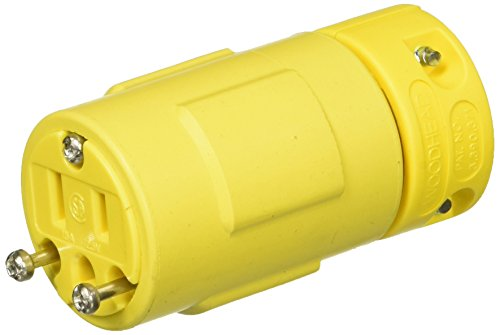 Woodhead 1547 Super-Safeway Connector, 2 Poles, 3 Wires, NEMA 5-15 Configuration, Yellow, 15A Current, 125V Voltage