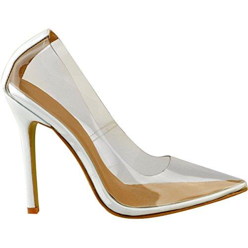 Talons Kim Verni habillé à Blanc Plexiglas Thirsty K Aiguilles Transparent Chaussures Femme Transparent Fashion w7tRza