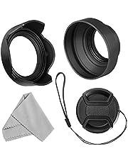 55 mm linsskydd set för Nikon D3400 D3500 D5500 D5600 D7500 DSLR kamera med AF-P DX 18-55 mm f/3,5-5,6G VR-objektiv, hopfällbar gummikudde + vändbar tulpanblomhuva + linsskydd + rengöringsduk