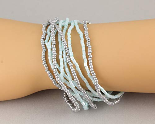 10 Blue Grey bracelet seed bead stretch set pack beaded stack stacking
