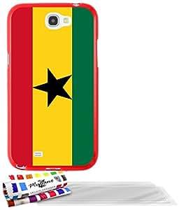 """Carcasa Flexible Ultra-Slim SAMSUNG GALAXY NOTE 2 / N7100 de exclusivo motivo [Ghana Bandera] [Roja] de MUZZANO  + 3 Pelliculas de Pantalla """"UltraClear"""" + ESTILETE y PAÑO MUZZANO REGALADOS - La Protección Antigolpes ULTIMA, ELEGANTE Y DURADERA para su SAMSUNG GALAXY NOTE 2 / N7100"""